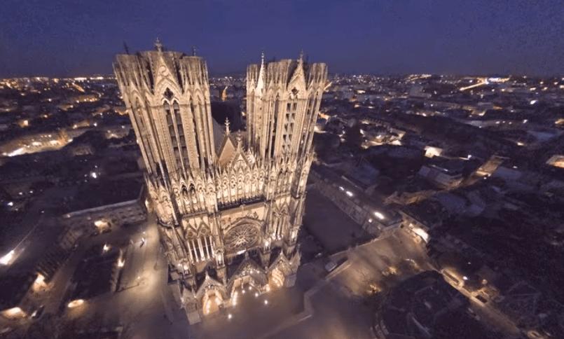 La cathédrale de Reims vue du ciel